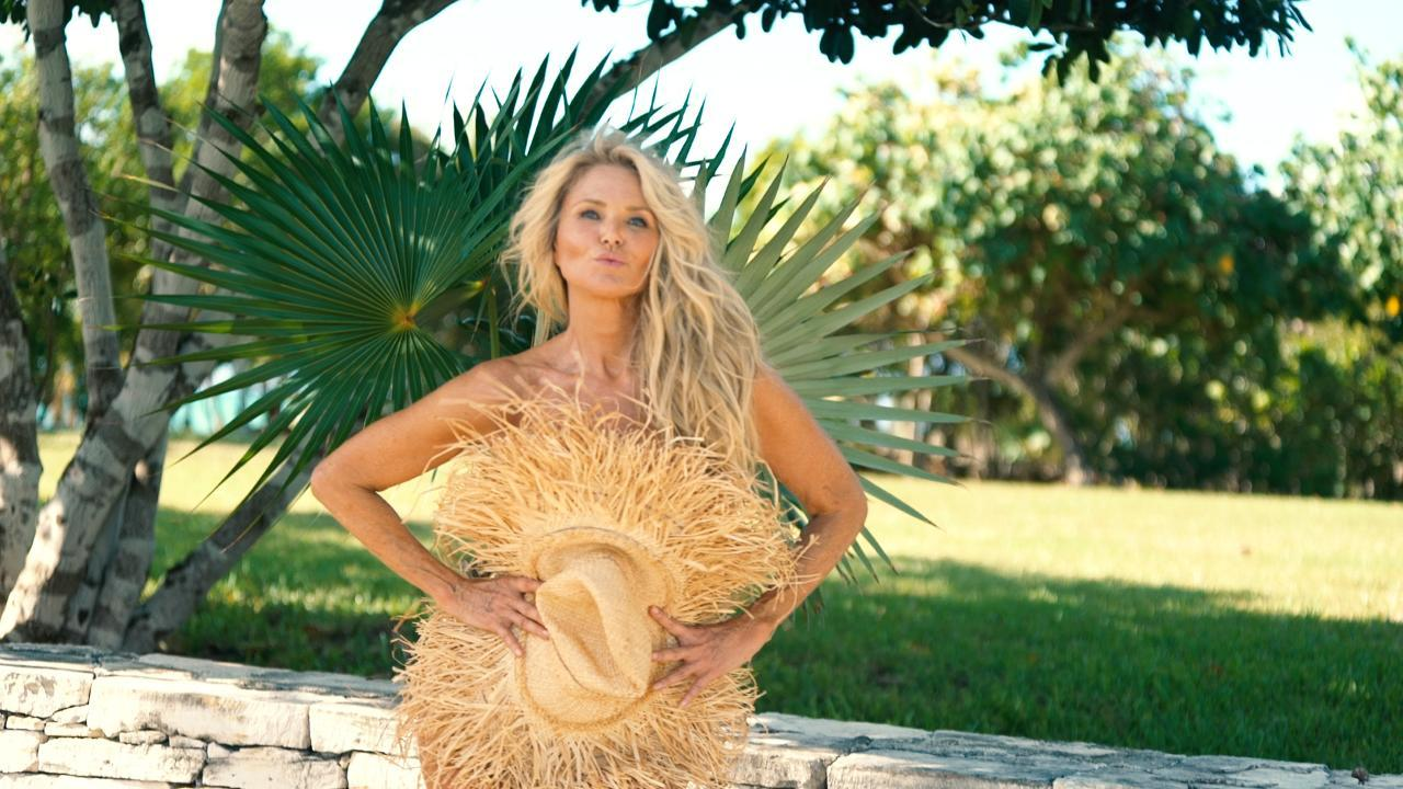 Christie Brinkley Poses Nude, Save For A Big Leaf, At 63