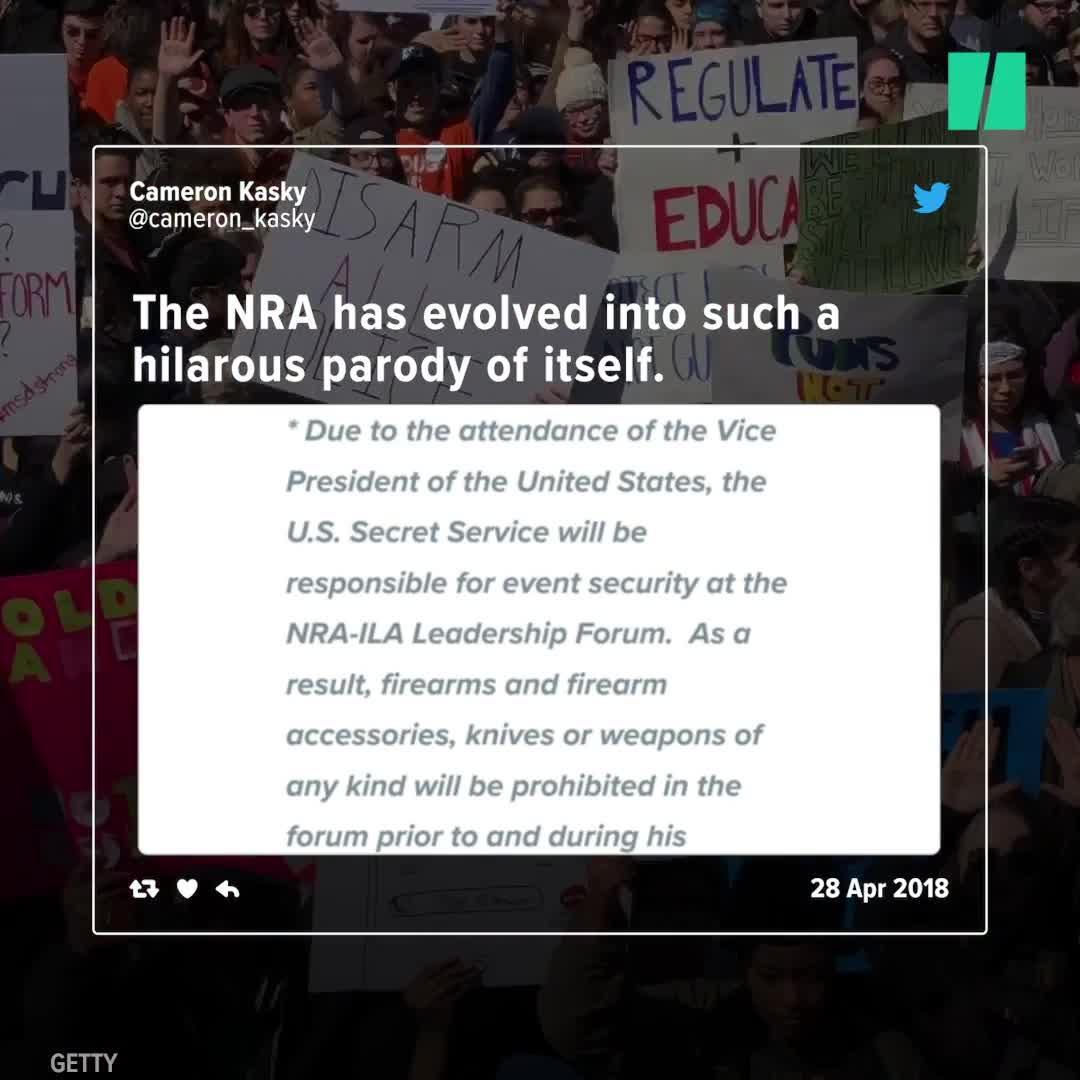 NRA Convention Bans Guns To Protect Mike Pence. Parkland Survivors' Jaws Drop.