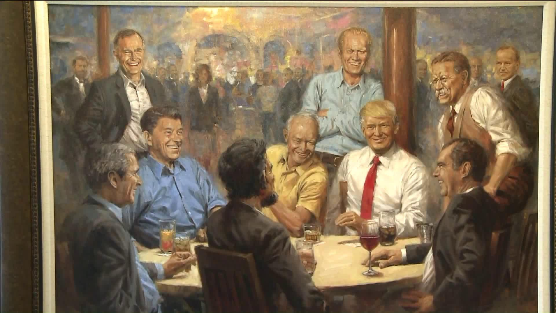 Painting Of Donald Trump Chilling With Other GOP Presidents Gets Scathing Reworking