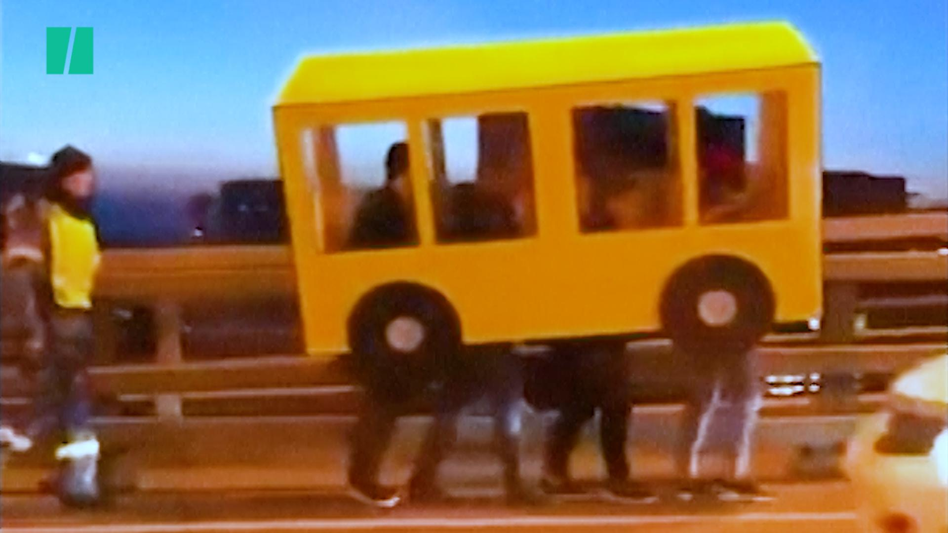 Four Guys Dress As A Bus To Cross Vehicle-Only Bridge In Russia | HuffPost UK