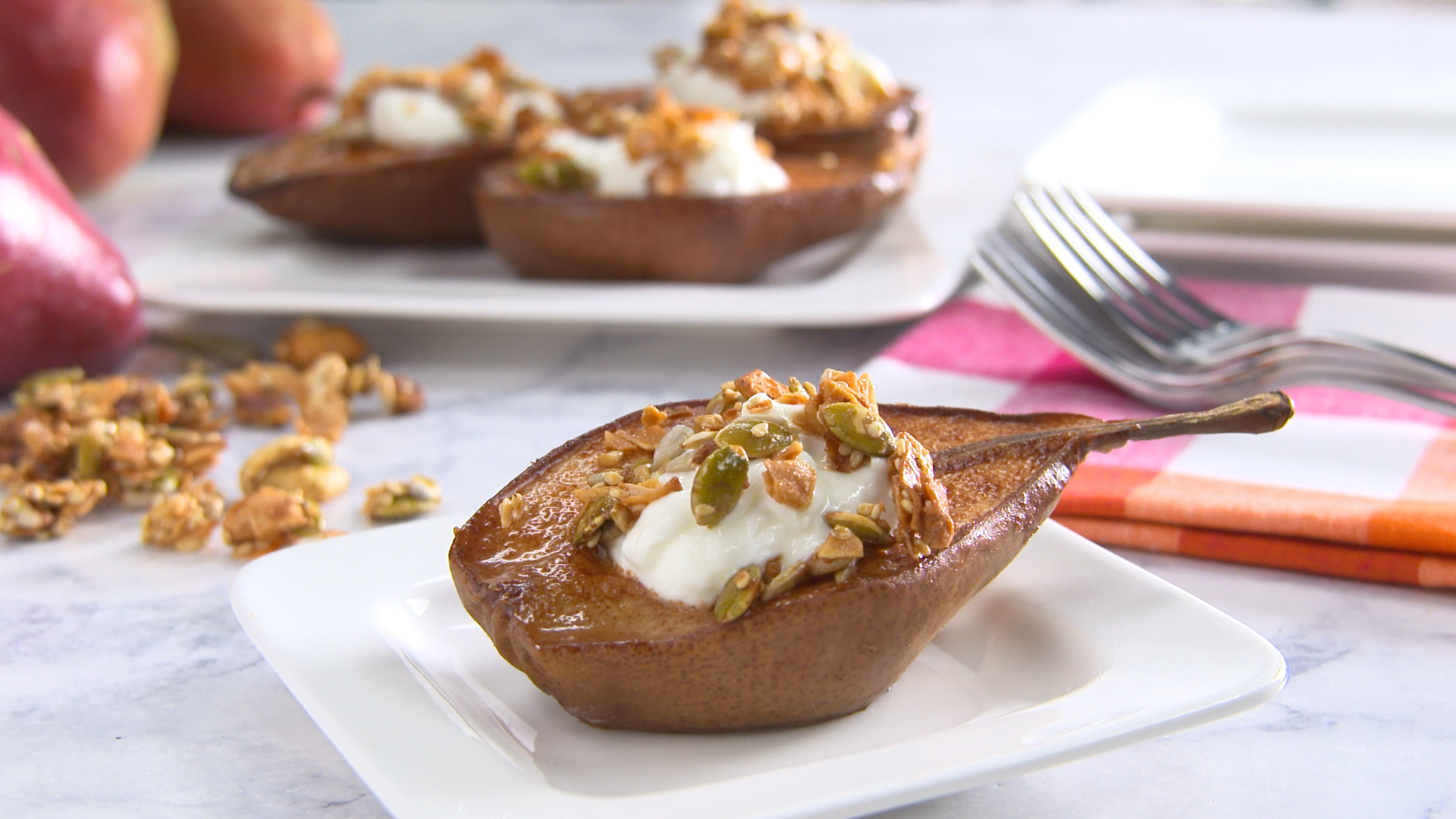Best Bites: Healthy holidays baked pears with pumpkin granola