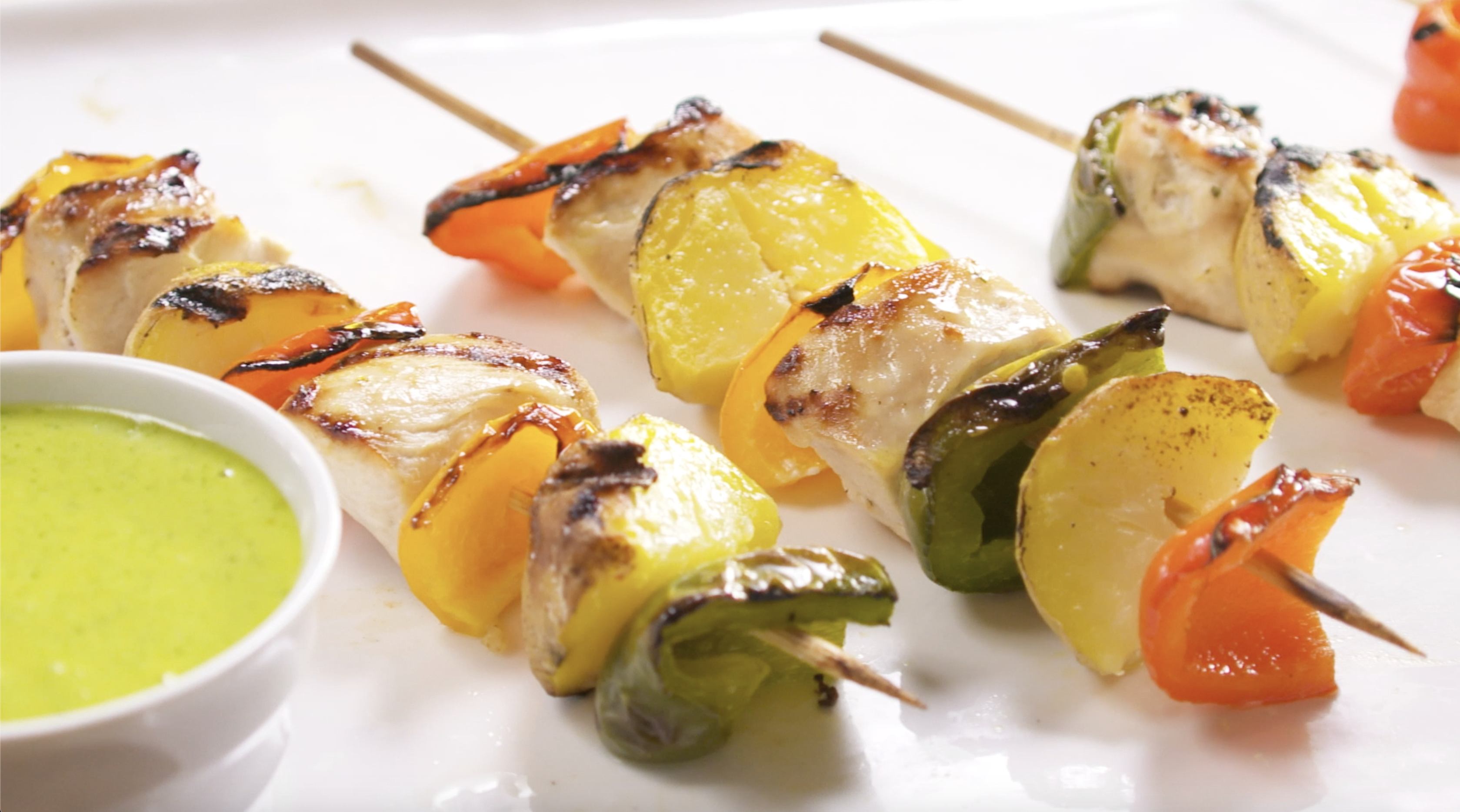 Beer and ranch chicken and potato kebabs with pesto aioli for dipping