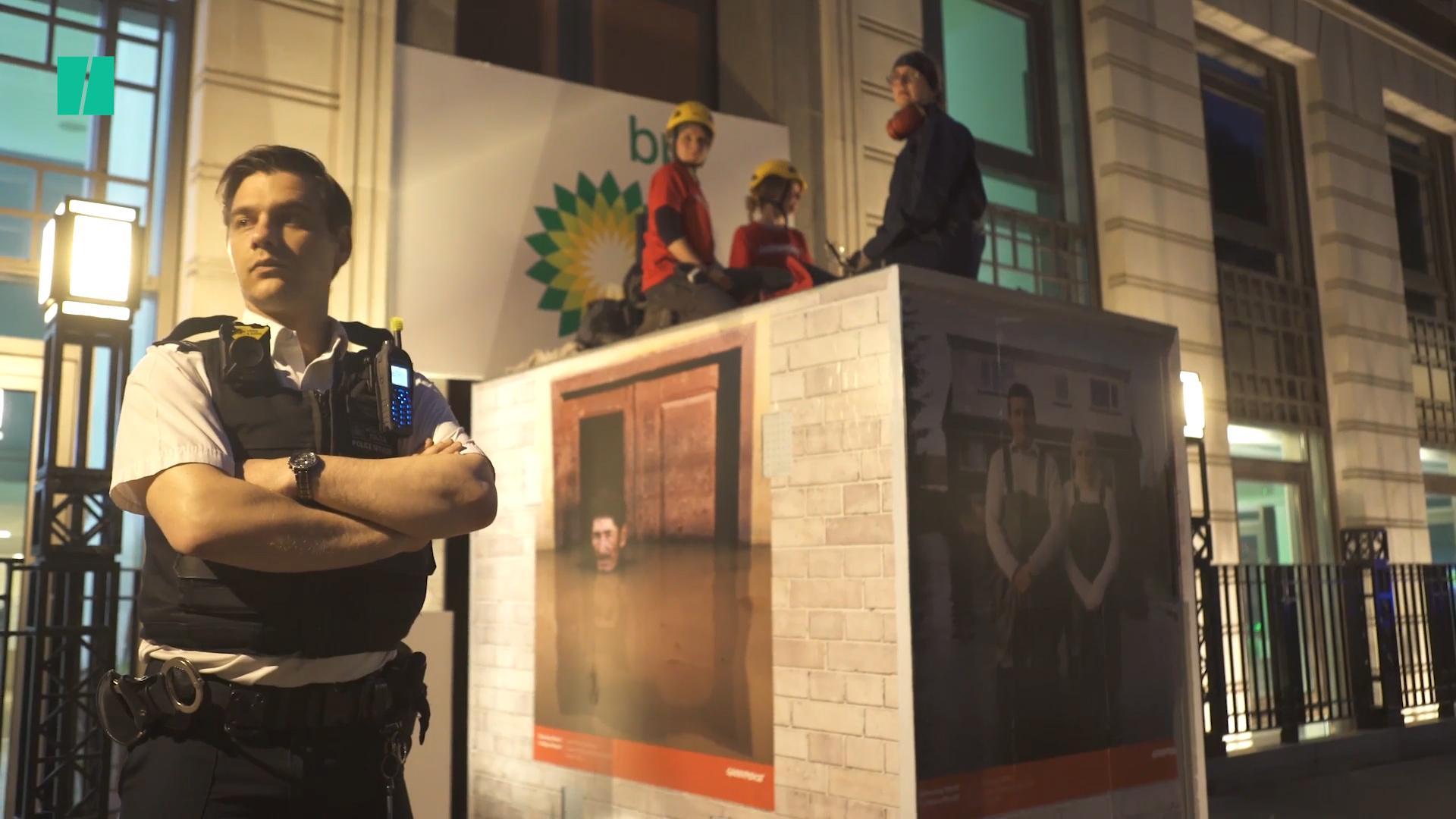 Greenpeace Block Entrance To BP's London Headquarters
