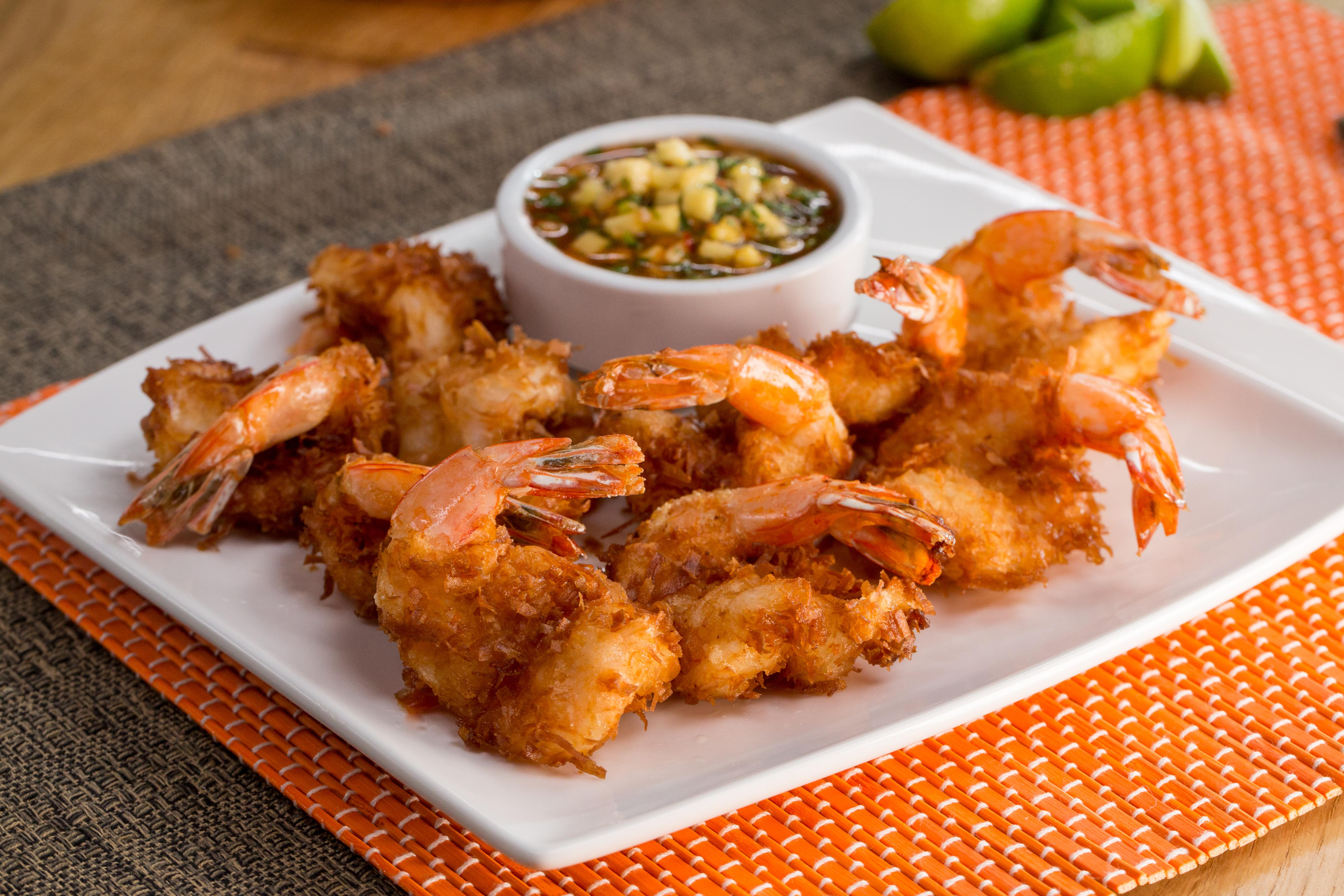 Try this easy recipe for coconut lime fried shrimp with mango salsa