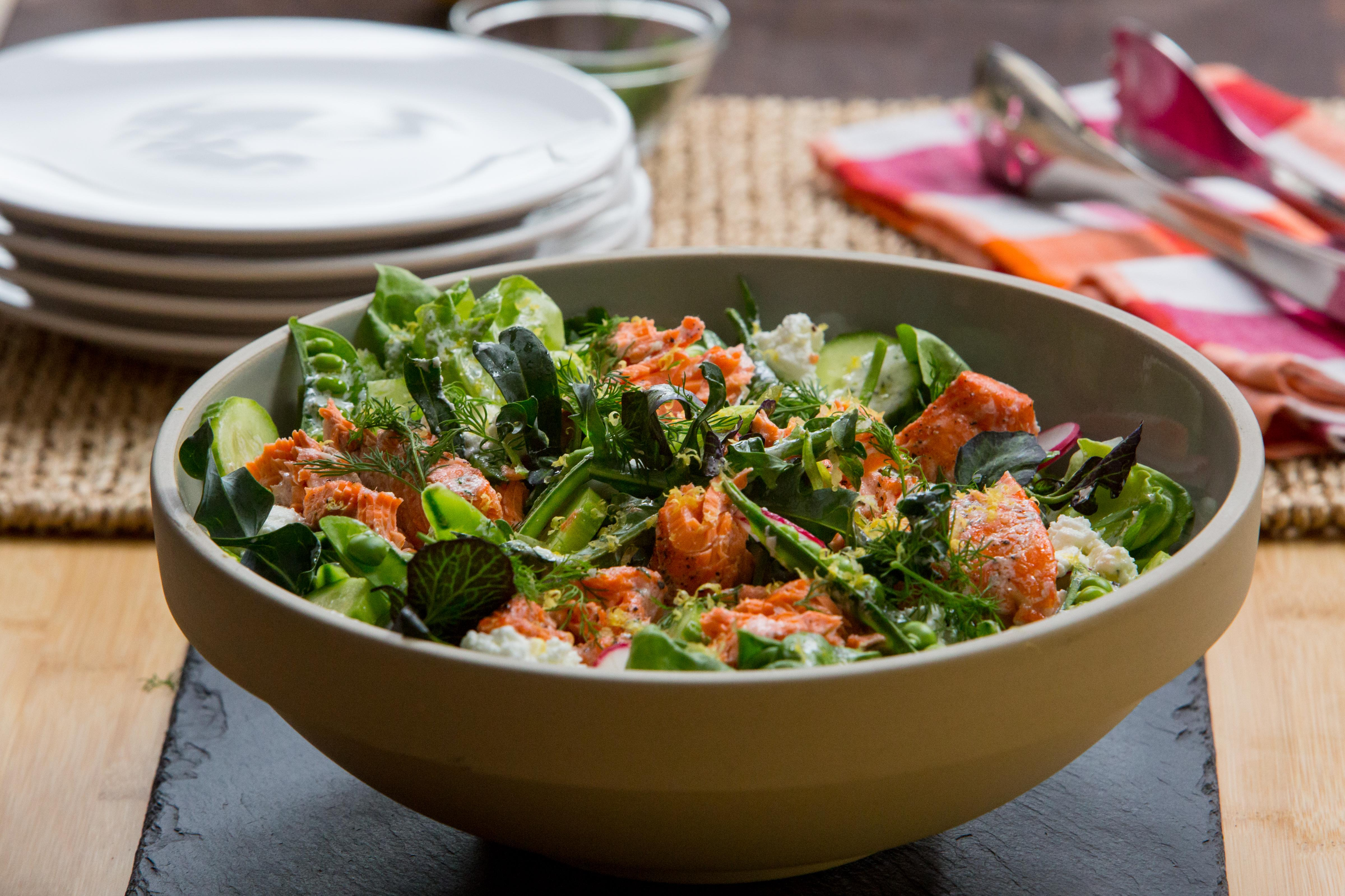 This salmon salad and lemon yogurt dressing are the perfect pair