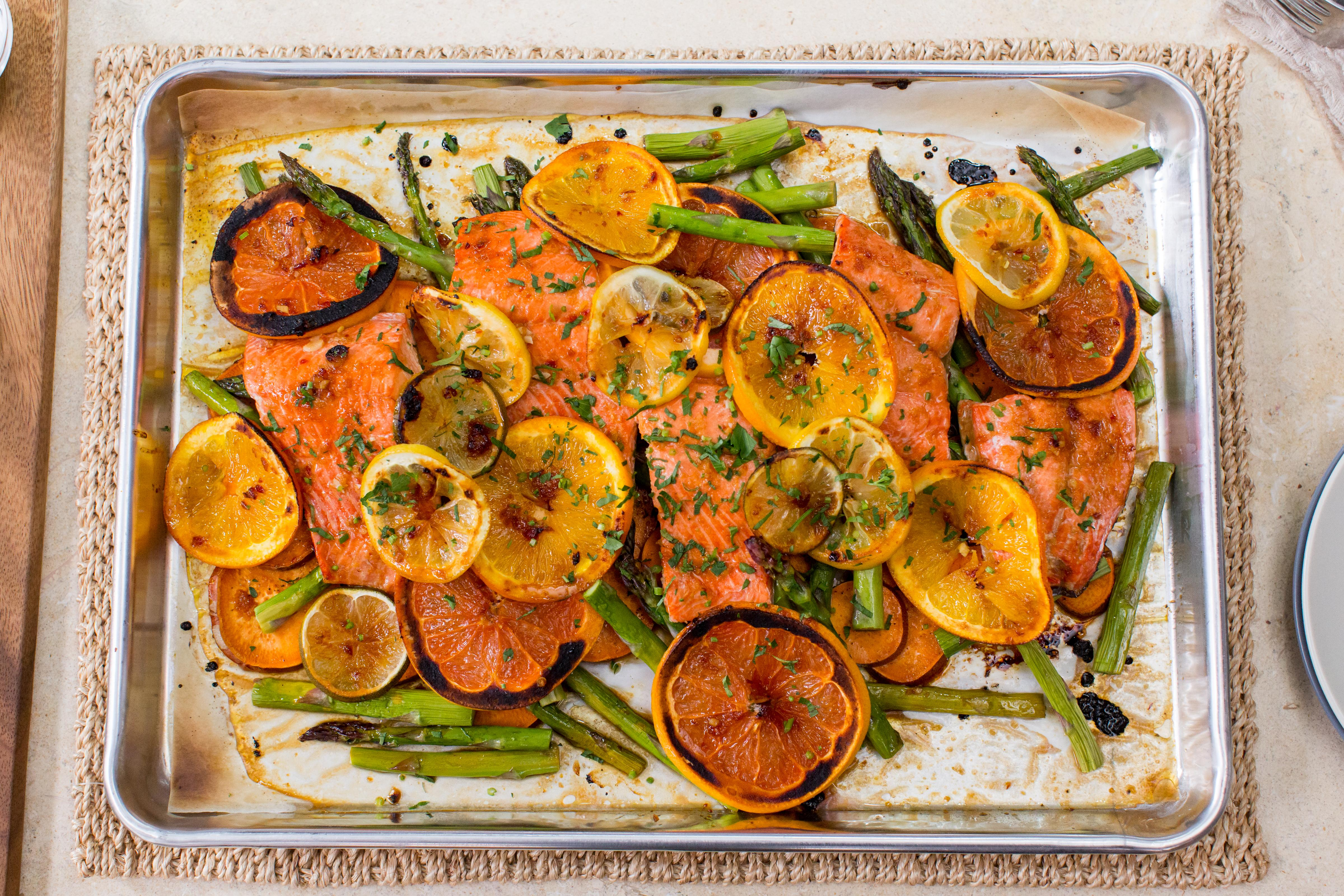 This honey citrus salmon sheet pan dinner is ready in 30 minutes