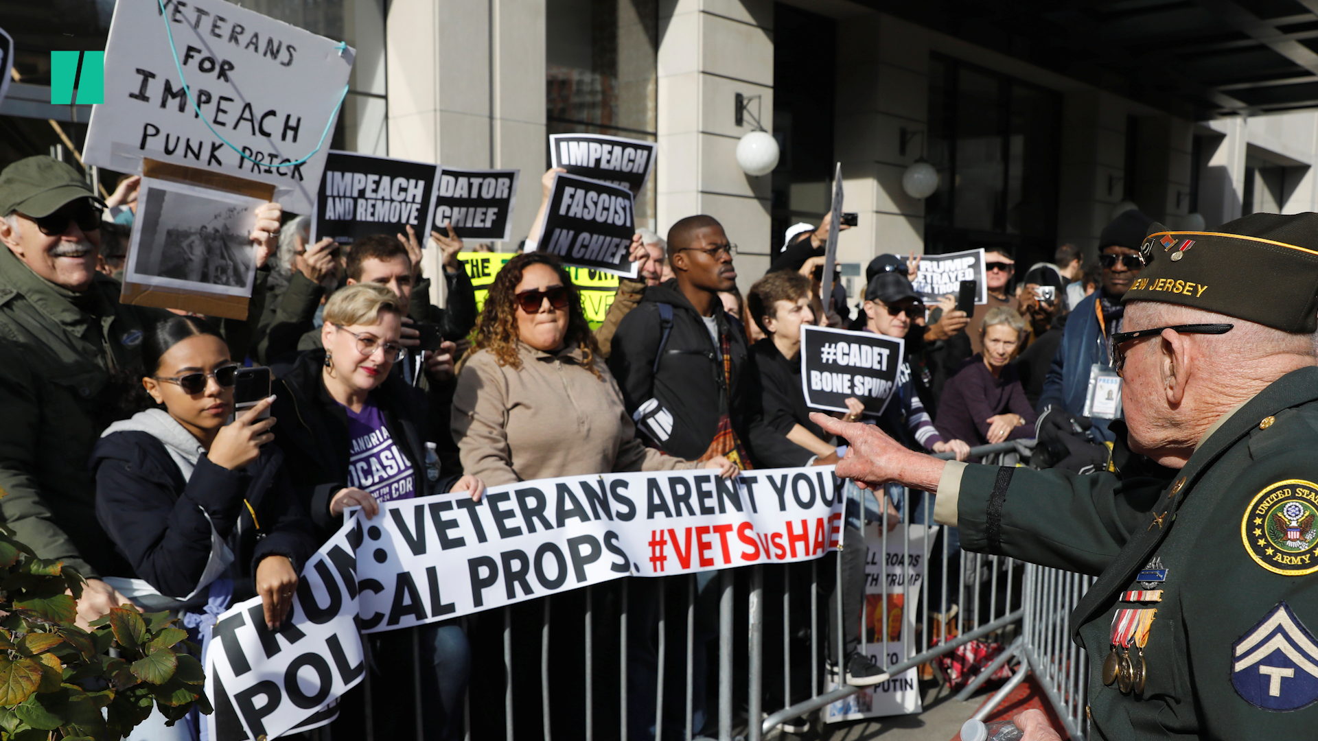 Trump Met With 'Lock Him Up' Chants, 'Impeach' Signs At NYC Veterans Day Parade